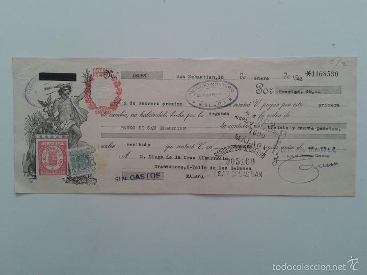LETRA DE CAMBIO AÑO 1943 SAN SEBASTIAN MALAGA CREDITO LOINAZ (Coleccionismo - Documentos - Documentos Bancarios)