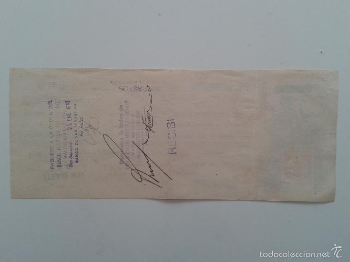 Documentos bancarios: LETRA DE CAMBIO AÑO 1943 SAN SEBASTIAN MALAGA CREDITO LOINAZ - Foto 2 - 56695183