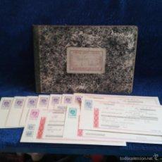 Documentos bancarios: LIBRO DE REGISTRO Y 11 PAGARES-TALONES DE TIENDA DE CONFECCIONES DE ELCHE ( ALICANTE ) TIMBRE MOVIL. Lote 56847647