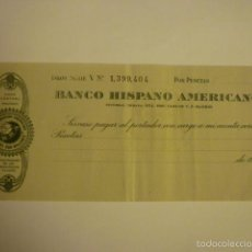 Documentos bancarios: CHEQUE SIN RELLENAR DEL BANCO HISPANO AMERICANO AÑOS 50.. Lote 57018428