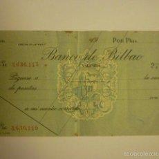 Documentos bancarios: CHEQUE DE VENTANILLA SIN RELLENAR DEL BANCO DE BILBAO EN VALENCIA.. Lote 57018456