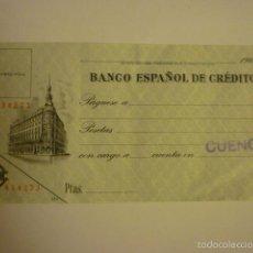 Documentos bancarios: CHEQUE DE VENTANILLA SIN RELLENAR BANCO ESPAÑOL DE CREDITO SUCURSAL CUENCA. AÑOS 60.. Lote 57018509