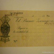Documentos bancarios: CHEQUE DE VENTANILLA SIN RELLENAR BANCO ZARAGOZANO. SUCURSAL HUETE.. Lote 57018545