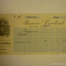 Documentos bancarios: CHEQUE DE VENTANILLA SIN RELLENAR BANCO CENTRAL. SUCURSAL CUENCA. Lote 57018564