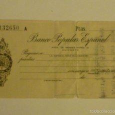Documentos bancarios: CHEQUE DE VENTANILLA SIN RELLENAR BANCO POPULAR ESPAÑOL. SUCURSAL ALICANTE.. Lote 57018603