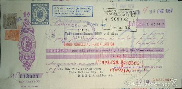 BONITA LETRA DE LA COMPAÑIA DE HILATURAS DE FABRA Y COATS CLASE 5ª BARCELONA 1957 (Coleccionismo - Documentos - Documentos Bancarios)