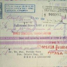 Documentos bancarios: BONITA LETRA DE LA COMPAÑIA DE HILATURAS DE FABRA Y COATS CLASE 5ª BARCELONA 1957. Lote 57122364