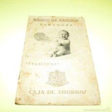 Documentos bancarios: 1928 - CON SELLOS MONEDA-SEGORBE - CAJA DE AHORROS DEL BANCO DE ARAGON ZARAGOZA -. Lote 57190230