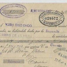 Documentos bancarios: LETRA DE CAMBIO - EMITIDA EN ALMENDRALEJO EL 20 - 3 1923. Lote 57699287