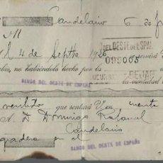 Documentos bancarios: LETRA DE CAMBIO - EMITIDA EN - CANDELARIO - CASTILLA Y LEON - EL 6 - 6 - 1926. Lote 57700232