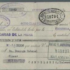 Documentos bancarios: LETRA DE CAMBIO - EMITIDA EN - ALMENDRALEJO - EL 31 - 5 - 1927. Lote 57700252