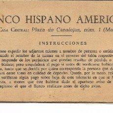 Documentos bancarios: BANCO HISPANO AMERICANO, TALONARIO. Lote 57998862