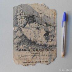 Documentos bancarios: BANCO CENTRAL PROPAGANDA, PORTADA, PAPEL SECANTE DESCONOCCO. Lote 58414738