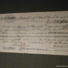 Documentos bancarios: ANTIGUA LETRA DE CAMBIO -PRIMERA DE CAMBIO AÑO 1901 - CLASE 15 -. Lote 41719531