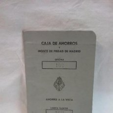 Documentos bancarios: LIBRETA CARTILLA CAJA DE AHORROS Y MONTE DE PIEDAD DE MADRID AÑO 1977. Lote 58630199
