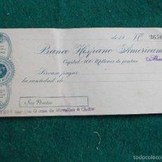 Documentos bancarios: BANCO HISPANO AMERICANO CHEQUE AÑOS 30. Lote 58678934