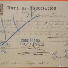 Documentos bancarios: BARCELONA - NOTA DE NEGOCIACIÓN DE J.B.MODOLELL AÑO 1902. Lote 58964230