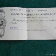 Documentos bancarios: ANTIGUO CHEQUE DEL BANCO HISPANO AMERICANO. Lote 59206740