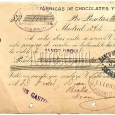 Documentos bancarios: LETRA DE CAMBIO FACTURA FÁBRICAS DE CHOCOLATE / CHOCOLATES Y GALLETAS LA FORTUNA MADRID 1928. Lote 59605563