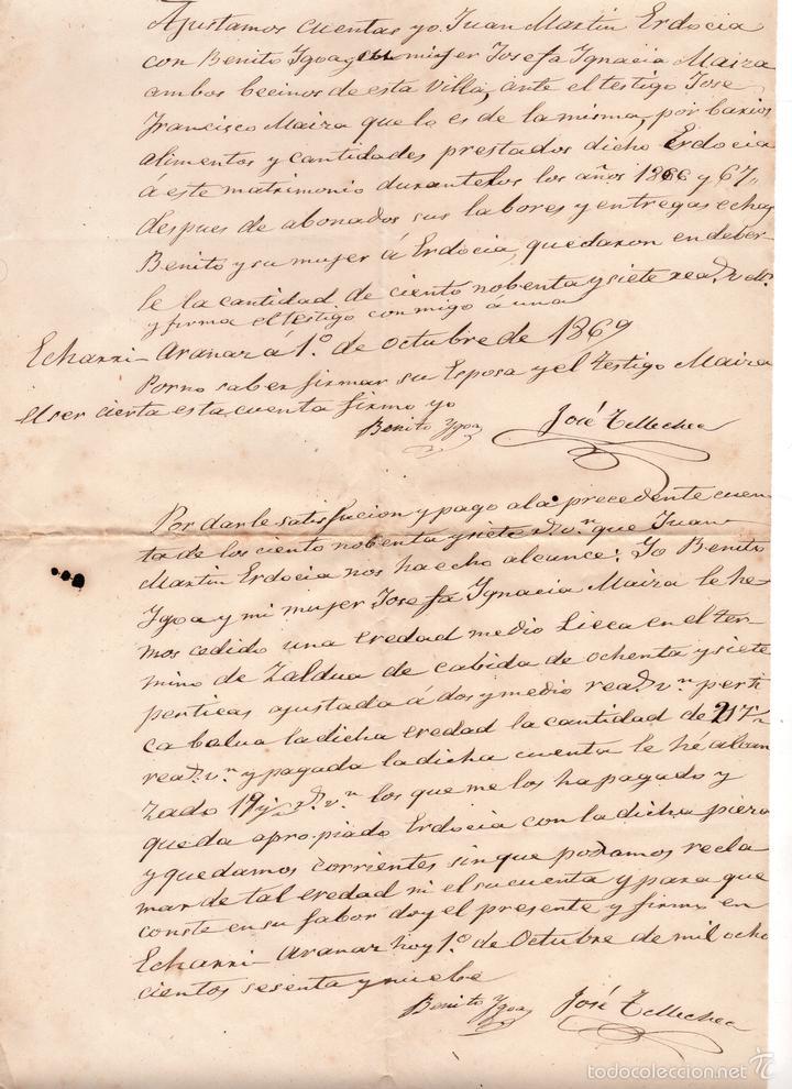 2 PAGARES FECHADOS EN 1869 (Coleccionismo - Documentos - Documentos Bancarios)