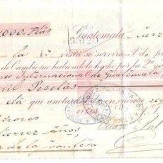 Documentos bancarios: LETRA. AÑO 1898. GUTIERREZ HNOS. GUATEMALA. CAÑADILLAS.. Lote 60573323