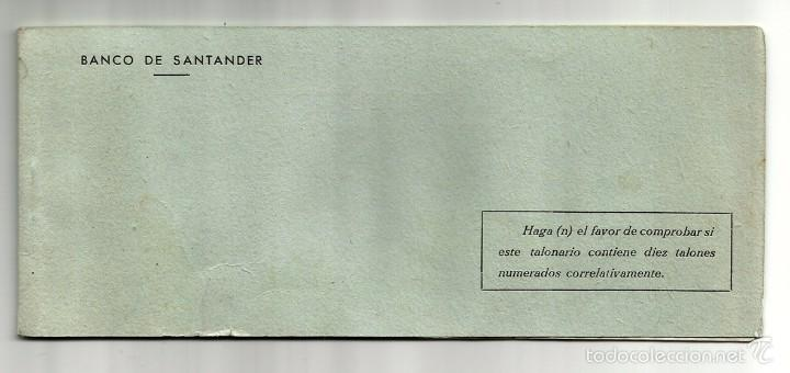 ANTIGUA CHEQUERA - TALONARIO DE CHEQUES BANCO DE SANTANDER - SUCURSAL DE BILBAO (Coleccionismo - Documentos - Documentos Bancarios)