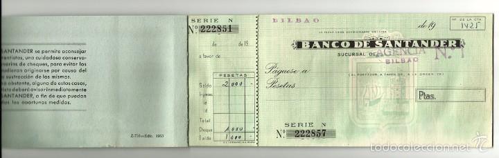 Documentos bancarios: ANTIGUA CHEQUERA - TALONARIO DE CHEQUES BANCO DE SANTANDER - SUCURSAL DE BILBAO - Foto 2 - 60618823