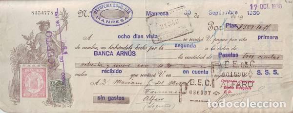 LETRA DE CAMBIO. ORTOPEDIA BUSQUETS, MANRESA. 1930. (Coleccionismo - Documentos - Documentos Bancarios)