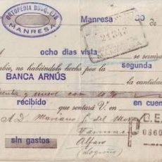 Documentos bancarios: LETRA DE CAMBIO. ORTOPEDIA BUSQUETS, MANRESA. 1930.. Lote 62215508