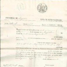Documentos bancarios: PAGARÉ - VENTA DE BIENES NACIONALES - LOGROÑO - SELLO 4º DE 1860. Lote 62448836