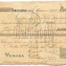 Documentos bancarios: LETRA DE CAMBIO GRIERA Y BRACONS. BARCELONA AÑO 1899. Lote 62634376