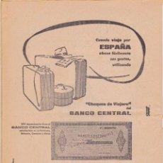 Documentos bancarios: BANCO CENTRAL - CHEQUES DE VIAJERO - TALLERES PERMAN 1961. Lote 64139963