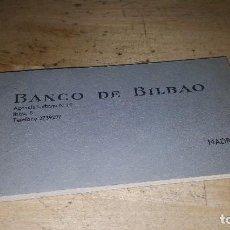 Documentos bancarios: TALONARIO DE CHEQUES DEL BANCO DE BILBAO, MADRID AÑOS 60, IMPECABLE Y COMPLETO. Lote 64923231