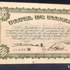 Documentos bancarios: PAPEL DE FIANZAS 100 PESETAS MADRID 1940. Lote 65773230