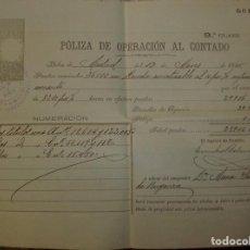 Documentos bancarios: LOTE DE CUATRO PÓLIZAS DE 1895 Y 1896.. Lote 68479365