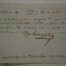 Documentos bancarios: DOCUMENTO FISCAL FISCALES PAGARÉ CARAVACA MURCIA CIEZA LORCA VALOR EN ORO U PLATA 1835. Lote 69378125