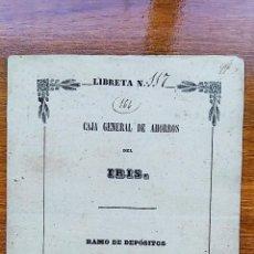 Documentos bancarios: MUY ANTIGUA LIBRETA CAJA GENERAL DEL AHORROS DEL IRIS, RAMO DE DEPOSITOS, MADRID. 1849-1851. Lote 70392389