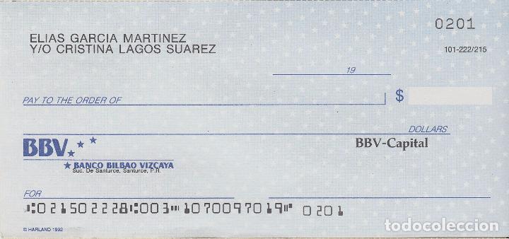 Cheque Sin Usar Del Banco Bilbao Vizcaya De Pue Kaufen Alte