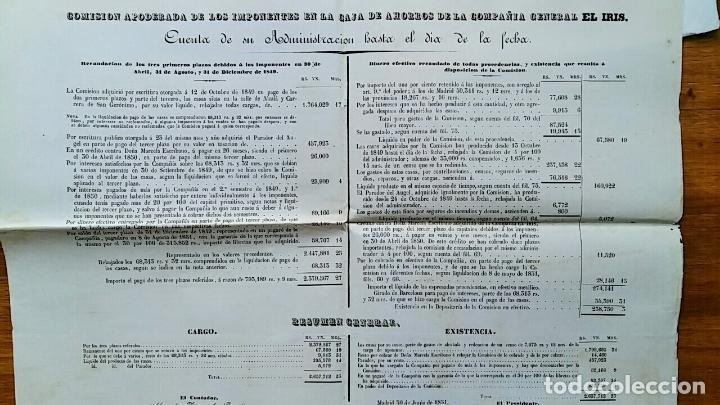 ANTIGUA CUENTA DE ADMINISTRACION CAJA AHORROS DE LA COMPAÑIA GENERAL EL IRIS. JUNIO 1851 (Coleccionismo - Documentos - Documentos Bancarios)