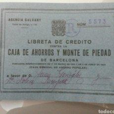 Documentos bancarios: LIBRETA DE CREDITO CAJA DE AHORROS Y MONTE DE PIEDAD BARCELONA 1968. Lote 71613042