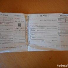 Documentos bancarios: IMPRESO ORIGINAL DE GIRO POSTAL DE LOS AÑOS 40. COMPLETO, CON MATRIZ, LIBRANZA Y RESGUARDO. Lote 72355563