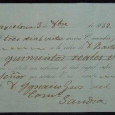 Documentos bancarios: LETRA DE CAMBIO EMITIDA EN BARCELONA (1853). Lote 73496931
