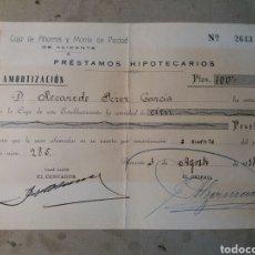 Documentos bancarios: CAJA DE AHORROS Y MONTE DE PIEDAD DE ALICANTE. 1938 GUERRA CIVIL. Lote 74233386