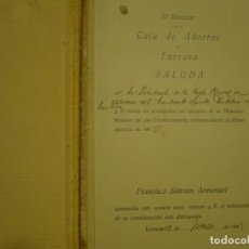 Documentos bancarios: BALANCE GENERAL EJERCICIO 1926 CAJA DE AHORROS DE TARRASA. Lote 75431903