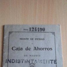 Documentos bancarios: CARTILLA AHORRO BANCARIO CAJA DE AHORROS DE MADRID. Lote 75905275