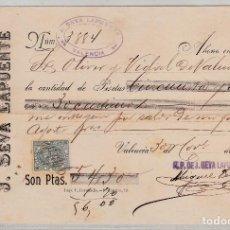 Documentos bancarios: J.SEVA LA PUENTE VALENCIA 1896. Lote 78080541