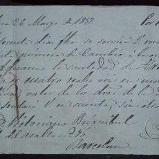 Documentos bancarios: LETRA DE CAMBIO MANUSCRITA EXPEDIDA EN BARCELONA (1857). Lote 78408229