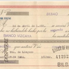 Documentos bancarios: LETRA DE CAMBIO, BANCO VIZCAYA, 1959. Lote 79613525