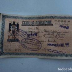 Documentos bancarios: MAGNIFICA CEDULA PERSONAL ESPAÑA AÑO 1940 ASTURIAS NAVA PAGO DE RENTAS POST GUERRA CIVIL. Lote 80501737