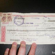 Documentos bancarios: CHEQUE PAGARÉ LETRA DE CAMBIO CON TIMBRES FISCALES. TEXTO DEL ALCALDE DE ARCHENA. 16 ABRIL 1949. Lote 80891635